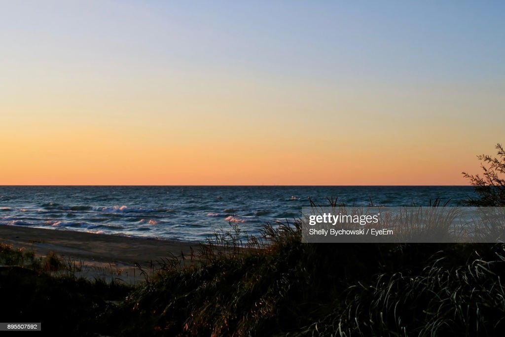 Scenic View Of Sea During Sunset : Stock Photo