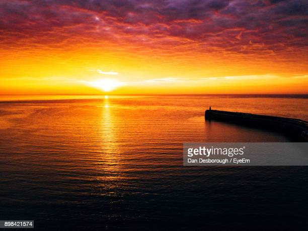 scenic view of sea during sunset - folkestone stock pictures, royalty-free photos & images