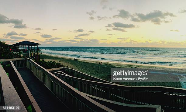 Scenic View Of Sea During Sunset Seen From Balcony
