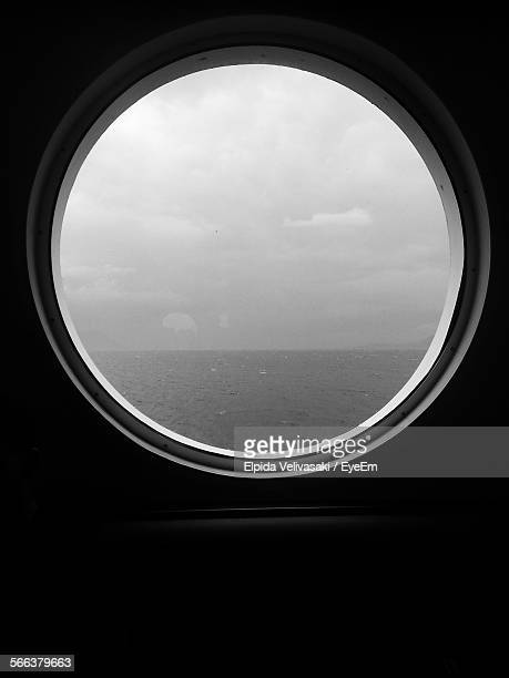 Scenic View Of Sea Seen Through Porthole