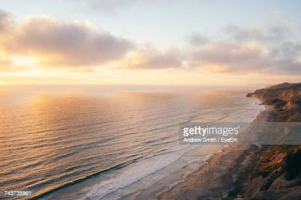 scenic view of seascape against cloudy sky during sunset - la jolla stock pictures, royalty-free photos & images