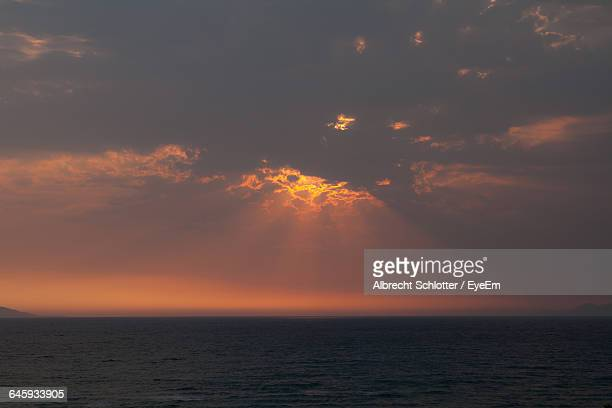 scenic view of seascape against sky - albrecht schlotter stock photos and pictures