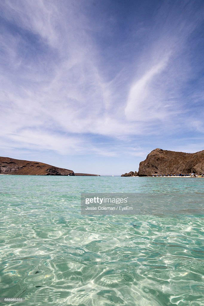 Scenic View Of Seascape Against Sky : Stock Photo