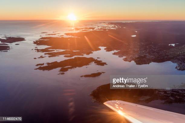 scenic view of seascape during sunset - andreas solar stock pictures, royalty-free photos & images