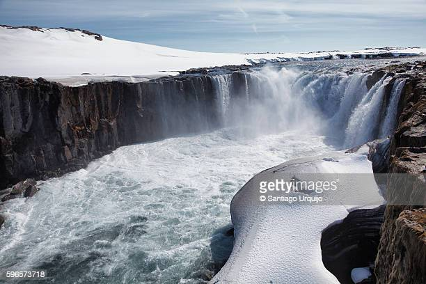scenic view of selfoss waterfall - selfoss stock photos and pictures