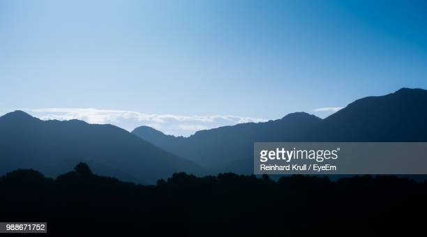 Scenic View Of Silhouette Mountains Against Clear Blue Sky