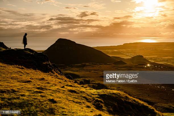 scenic view of silhouette mountains against sky during sunset - ポートリー ストックフォトと画像