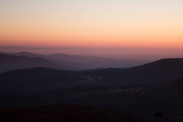 Scenic view of silhouette of mountains against sky during sunset,Portugal