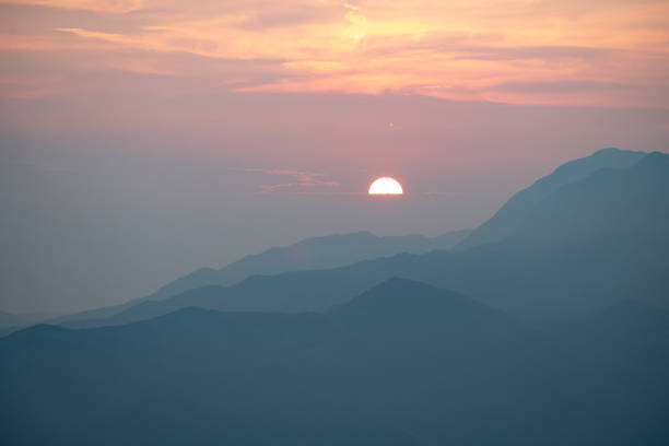Scenic view of silhouette of mountains against sky during sunset