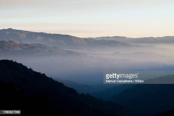 scenic view of silhouette of mountains against sky during sunset,viana do castelo,portugal - portugal stock pictures, royalty-free photos & images