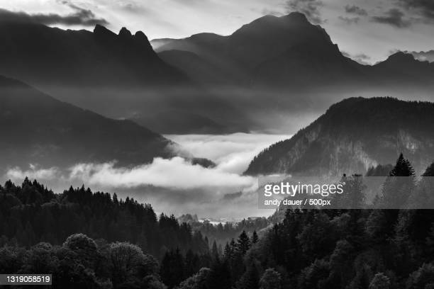 scenic view of silhouette of mountains against sky,austria - andy dauer stock pictures, royalty-free photos & images