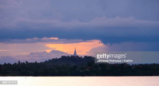 scenic view of silhouette trees against sky during sunset - surat thani province stock pictures, royalty-free photos & images