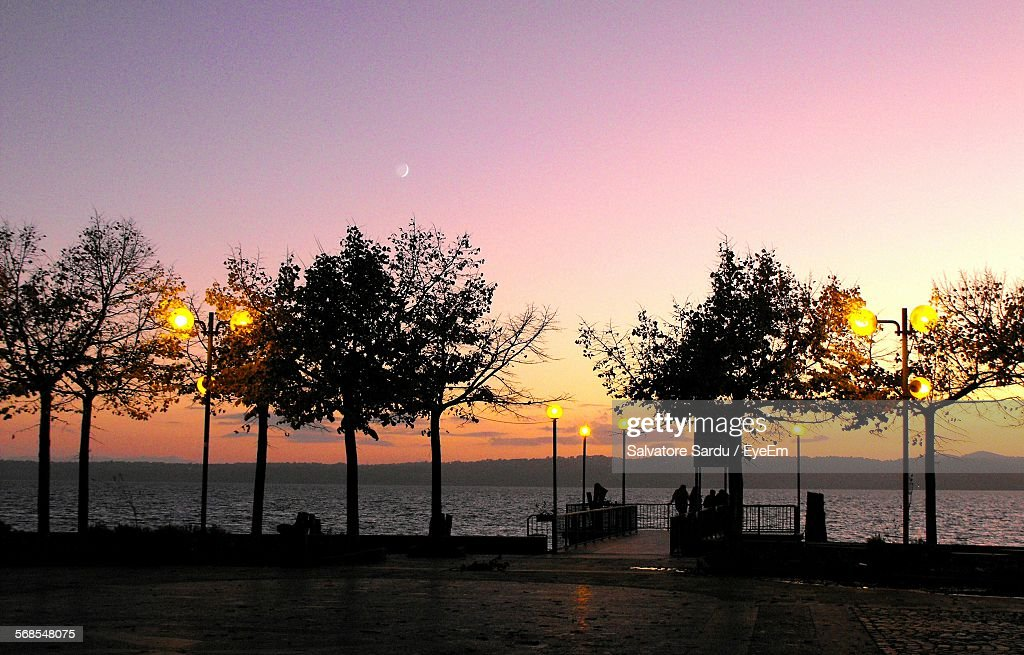 Scenic View Of Silhouette Trees At Park By Lake Against Sky During Sunset : Stock Photo