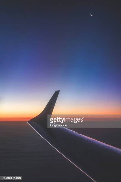 Scenic View of Sky and Airplane Wing at Twilight with Moon