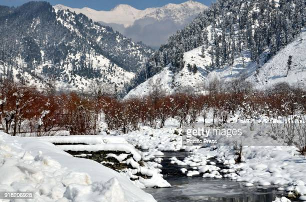 A scenic view of snow covered after fresh snowfall in Daksum about 97 kilometers south of Srinagar city the summer capital of Indiancontrolled...