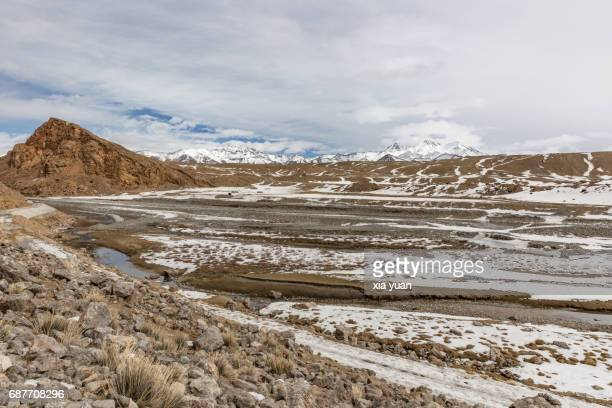 Scenic View Of Snow Covered Alluvial Valley On Pamir Plateau,China