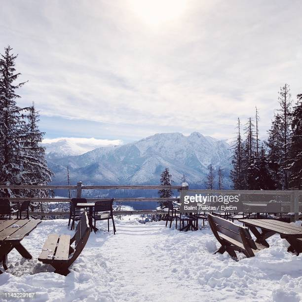 scenic view of snow covered field against sky - zakopane stock pictures, royalty-free photos & images