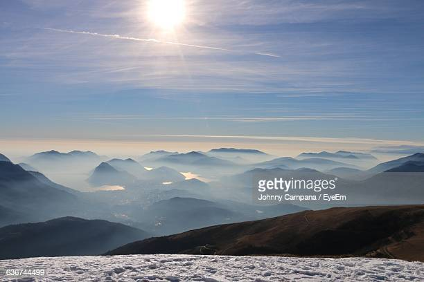 Scenic View Of Snow Covered Field And Mountains Range Against Sky