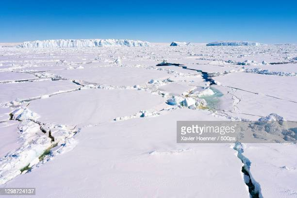 scenic view of snow covered land against clear blue sky,antarctica - pack ice stock pictures, royalty-free photos & images