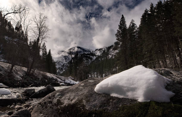 Scenic view of snow covered land against sky,Leavenworth,Washington,United States,USA