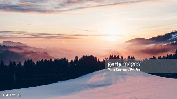 scenic view of snow covered landscape against sky during sunset - peter snow stock pictures, royalty-free photos & images