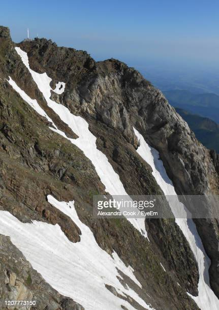 scenic view of snow covered mountain against sky - bagneres de bigorre stock pictures, royalty-free photos & images
