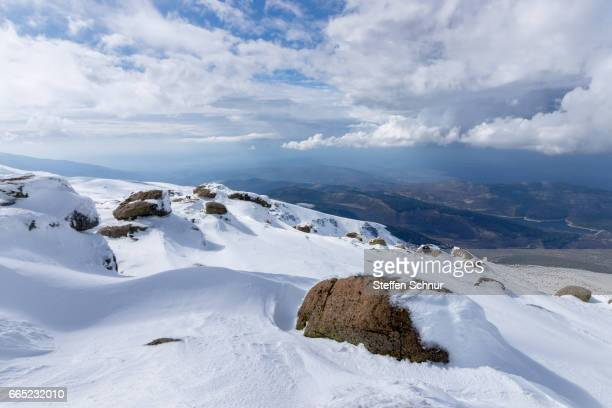Scenic View Of Snow Covered Mountains Against Sky Clouds