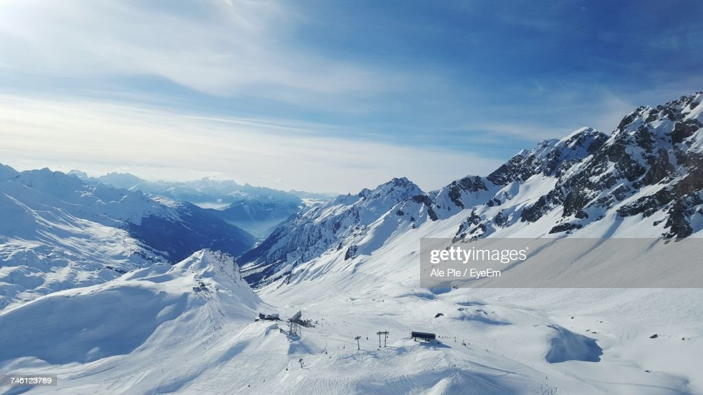 Scenic View Of Snow Covered Mountains Against Sky : Stock Photo