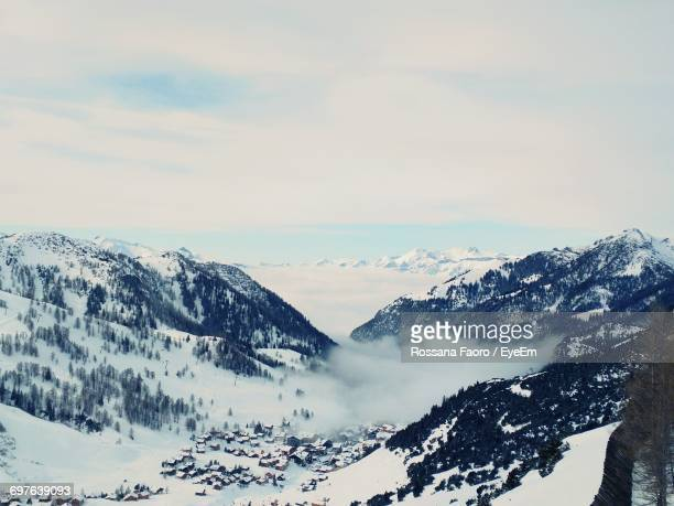 scenic view of snow covered mountains - principality of liechtenstein stock pictures, royalty-free photos & images