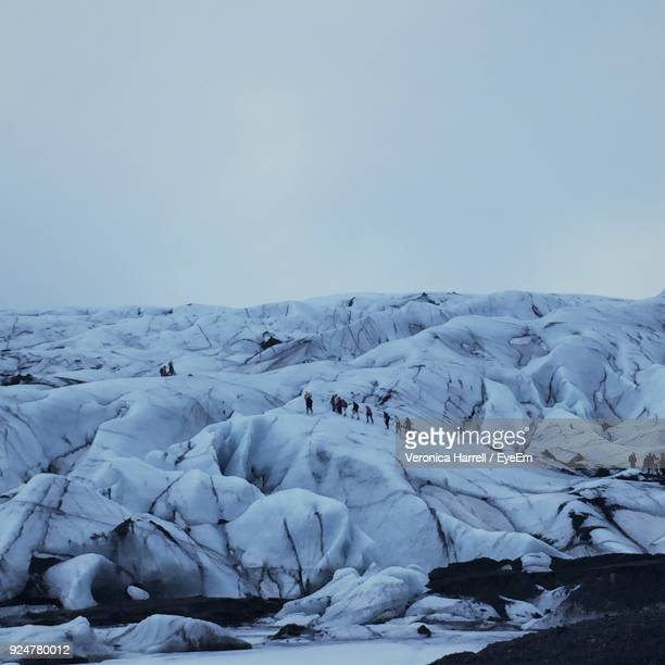 Scenic View Of Snow Landscape Against Clear Sky
