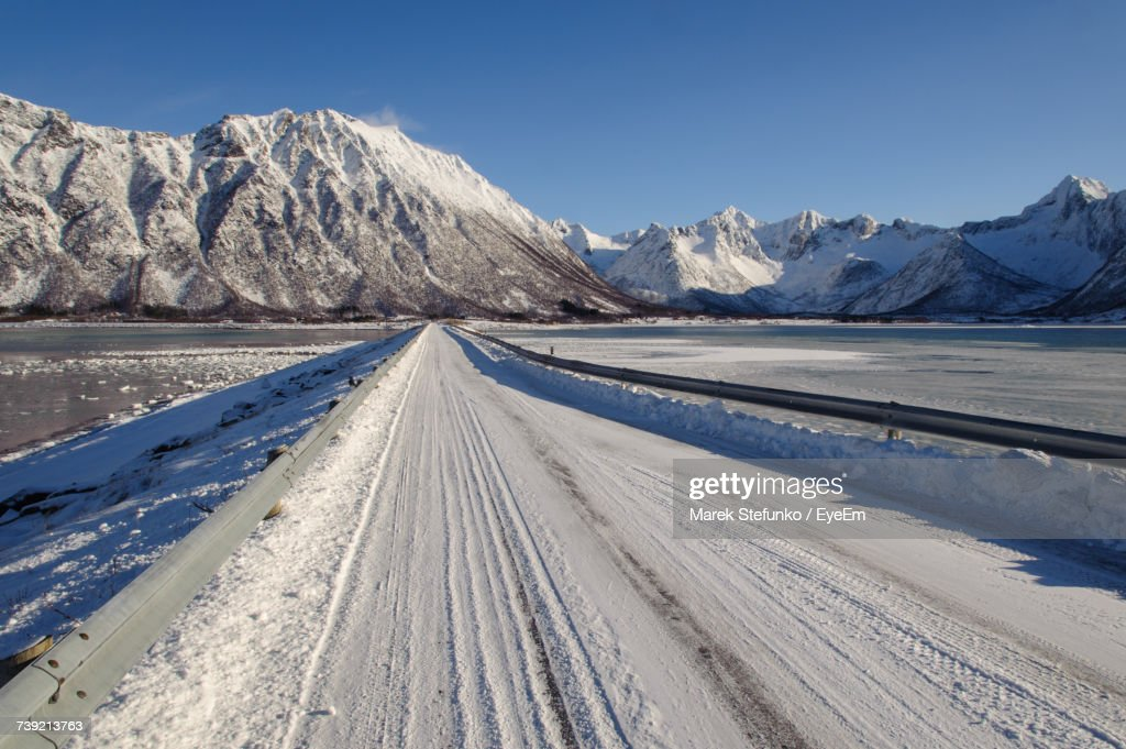 Scenic View Of Snow Mountains Against Sky : Stock Photo