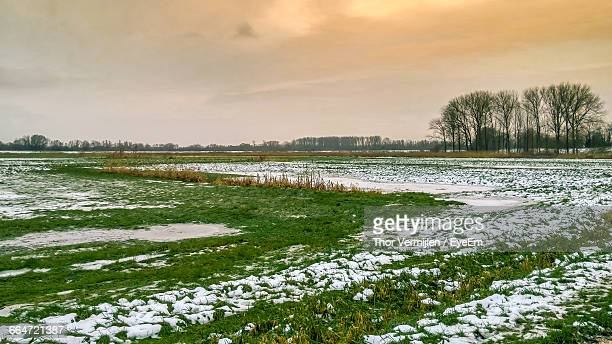 Scenic View Of Snow On Grassy Landscape At Sunset