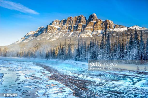 scenic view of snowcapped mountains against blue sky,banff,alberta,canada - extreme terrain stock pictures, royalty-free photos & images