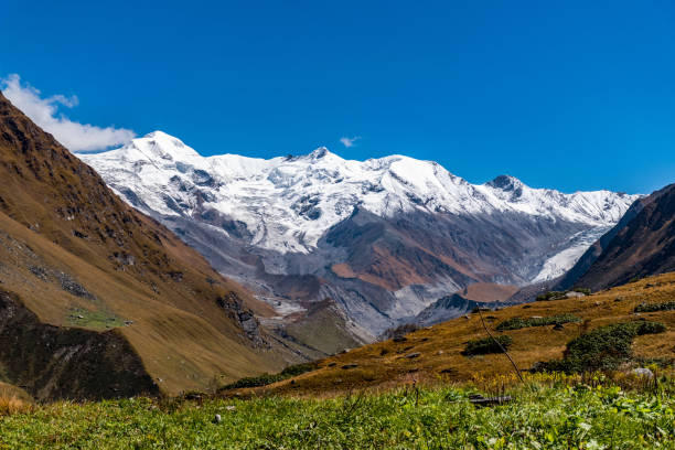 Scenic View Of Snow-Capped Mountains Against Clear Blue Sky, Barkot, India