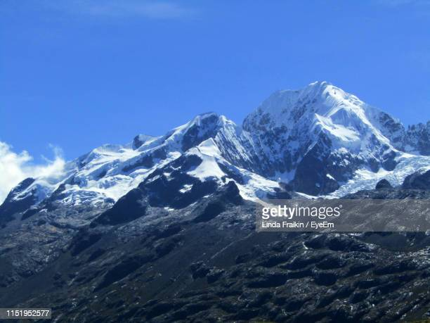 scenic view of snowcapped mountains against clear blue sky - linda fraikin stock pictures, royalty-free photos & images