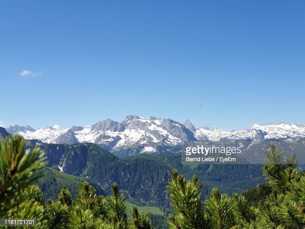 scenic view of snowcapped mountains against clear blue sky - liebe stock pictures, royalty-free photos & images