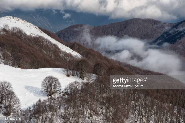 scenic view of snowcapped mountains against cloudy sky - andrea rizzi stockfoto's en -beelden