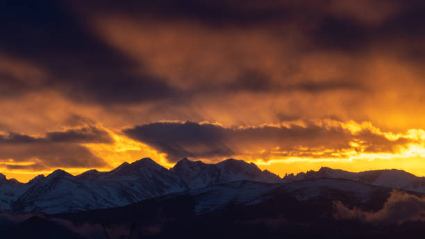 Scenic view of snowcapped mountains against sky during sunset,Erie,Colorado,United States,USA