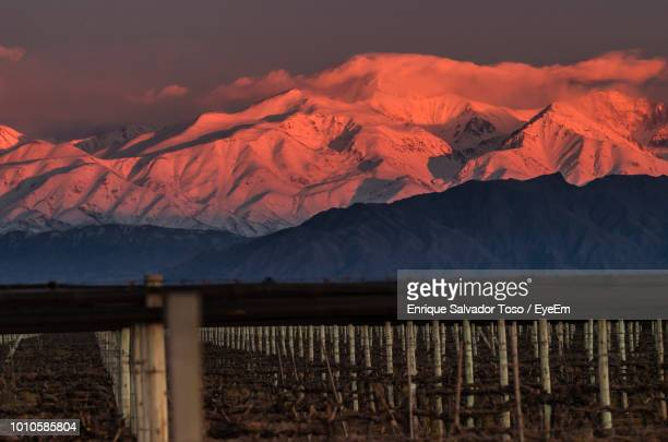 scenic view of snowcapped mountains against sky during sunset - argentina america del sud foto e immagini stock
