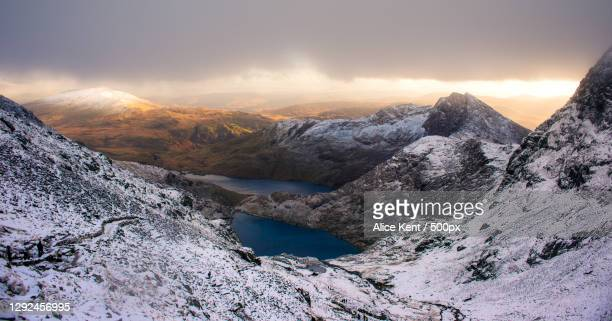 scenic view of snowcapped mountains against sky during sunset - landscape scenery stock pictures, royalty-free photos & images