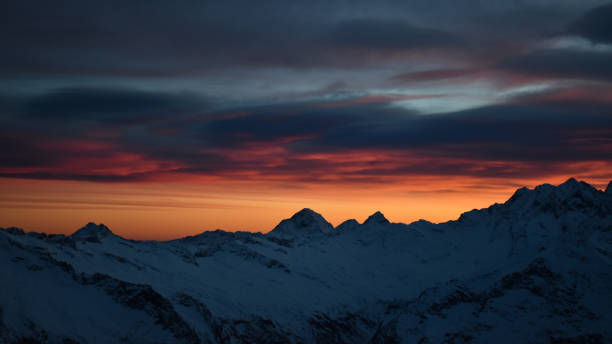 Scenic view of snowcapped mountains against sky during sunset,Via Monte Rosa,Macugnaga VB,Italy
