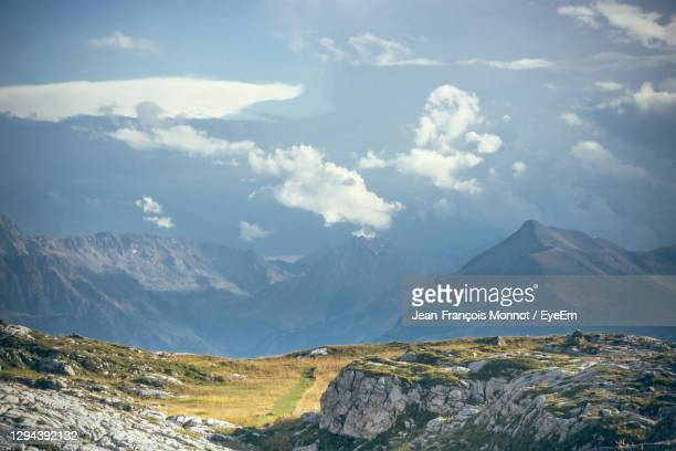 scenic view of snowcapped mountains against sky in  mont blanc massif - sallanches stock pictures, royalty-free photos & images