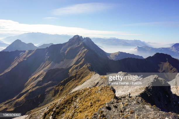 scenic view of snowcapped mountains against sky - principality of liechtenstein stock pictures, royalty-free photos & images