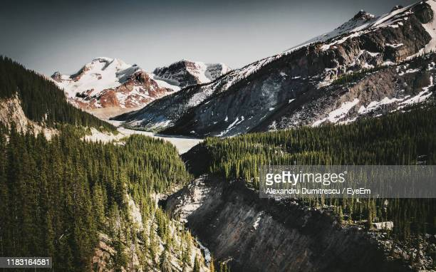 scenic view of snowcapped mountains against sky - columbia icefield stock pictures, royalty-free photos & images