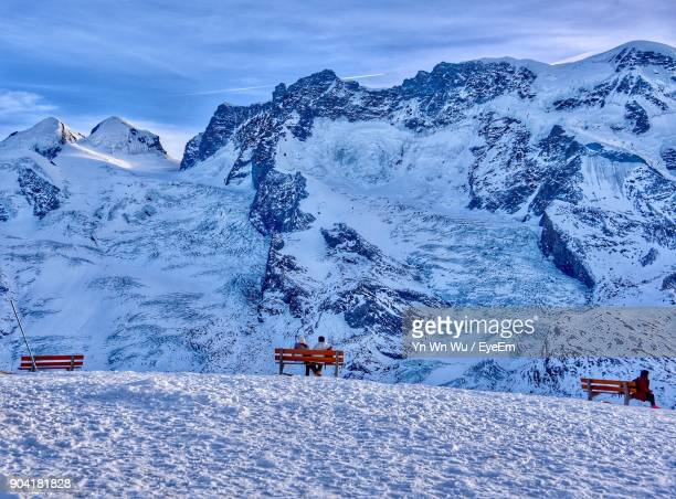 scenic view of snowcapped mountains against sky - zermatt stock pictures, royalty-free photos & images