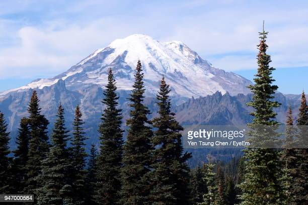 scenic view of snowcapped mountains against sky - mt rainier stock pictures, royalty-free photos & images