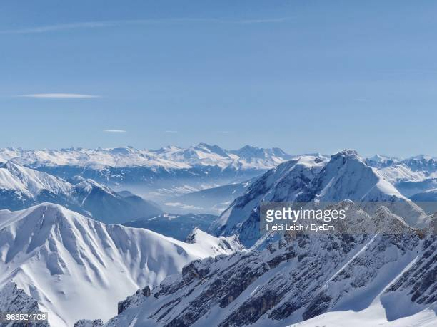 scenic view of snowcapped mountains against sky - bavarian alps stock pictures, royalty-free photos & images