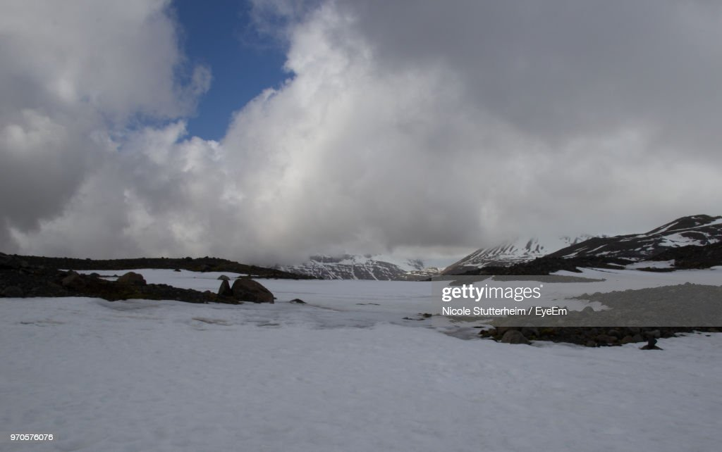 Scenic View Of Snowcapped Mountains Against Sky : Stock Photo