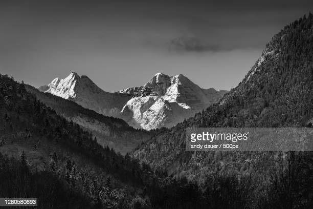 scenic view of snowcapped mountains against sky,bad reichenhall,germany - andy dauer stock pictures, royalty-free photos & images