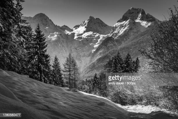 scenic view of snowcapped mountains against sky,loferer steinberge,austria - andy dauer stock pictures, royalty-free photos & images